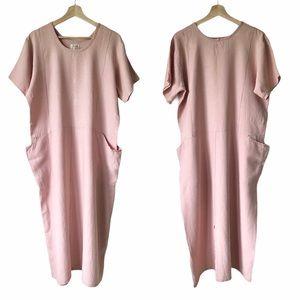 FLAX 100% Linen Peach Pink Short Sleeve Dress S